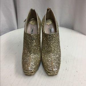 Miu Miu Metallic Glitter Platform Ankle Boots
